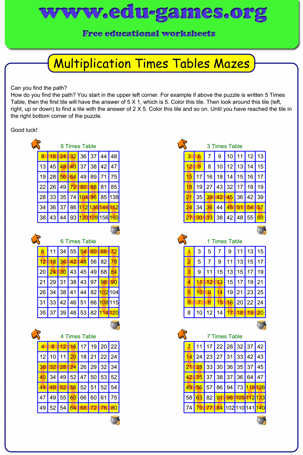 Multiplication Times Table Mazes Are A Great Way To Practice The Multiplications Tables Instead Of Lea Multiplication Times Tables Times Tables Multiplication
