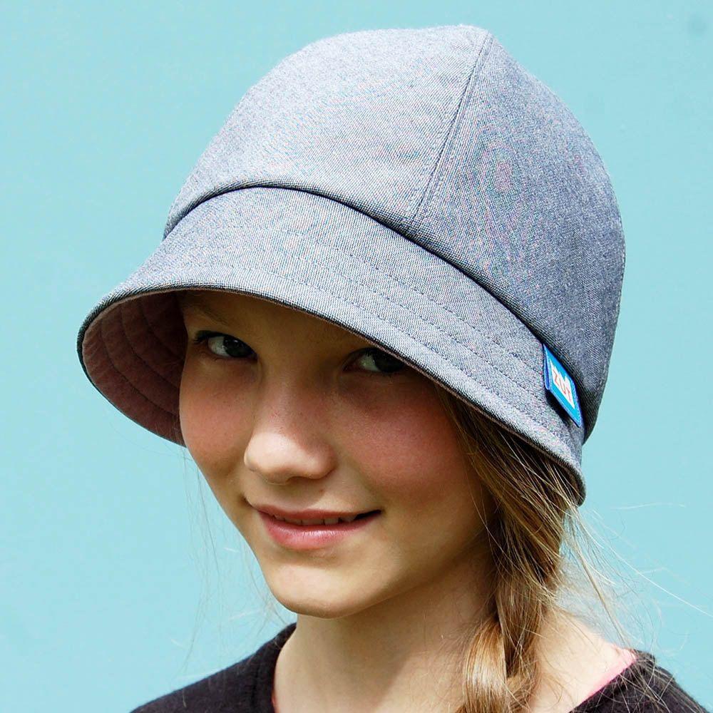 Denim bucket rain hat with pink quartz chambray brim b655f8619d7