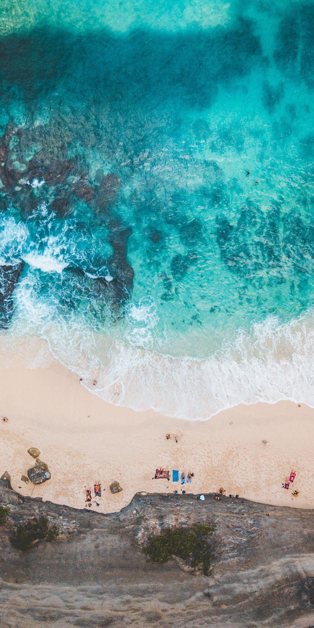 Exotic beach, blue-green sea, aerial view, 1080x2160 wallpaper