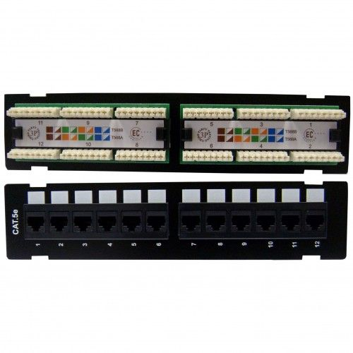 Wall Mount 12 Port Cat5e Patch Panel 110 Type 568a 568b Compatible 10 Inch Wall Mount Patches Mounting Brackets