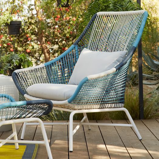 Huron Large Lounge Chair U2013 Blue/Cement | West Elm