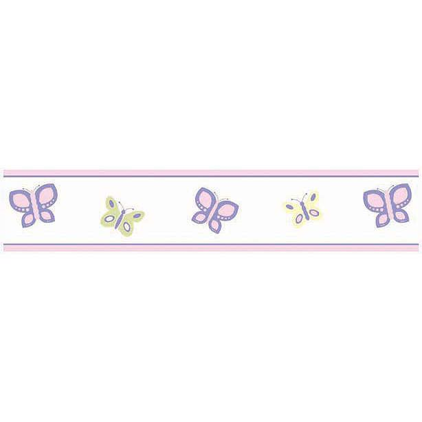 Your little girl will daydream of flying away on great adventures with her winged friends when you add this fetching border to her walls. Featuring sweet and colorful butterflies in alternating hues and sizes, it makes a delightful finishing touch that warms the room and sparks your little one's imagination. Each roll sold separately. Dimensions: 6 in x 15 ft. #timelesstreasure
