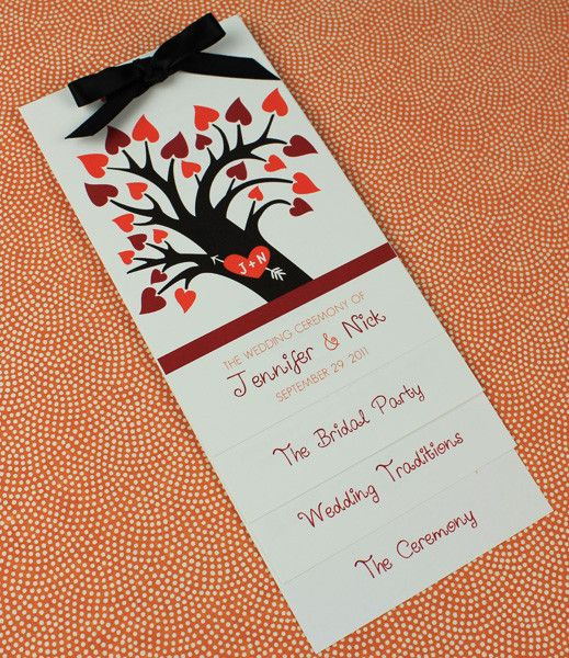 DIY Fall Tree With Hearts Layered Wedding Program Template Add Your Text And Print