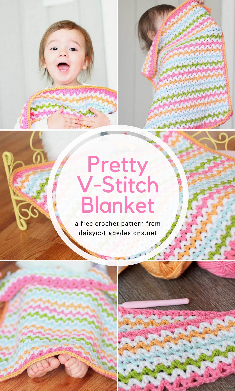 Pretty V-Stitch Blanket Crochet Pattern   Cobija, Tejidos bebe y Tejido