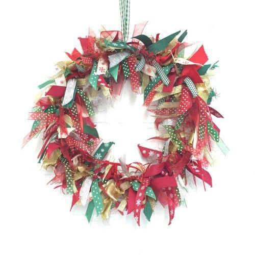 classic 12 inch christmas ribbon wreath kit