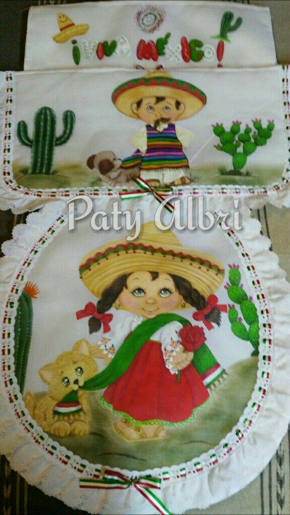 Jgo De Bano Para Fiestas Patria Pintura Textil Elaborado Por Paty