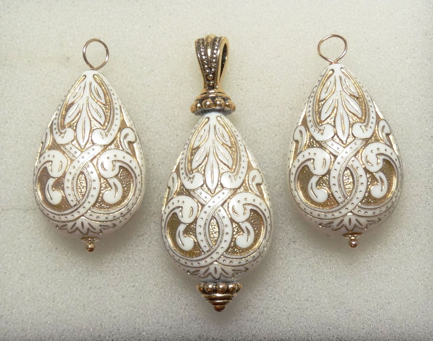 Cream u gold mediterranean interchangeable earring charms u pendant