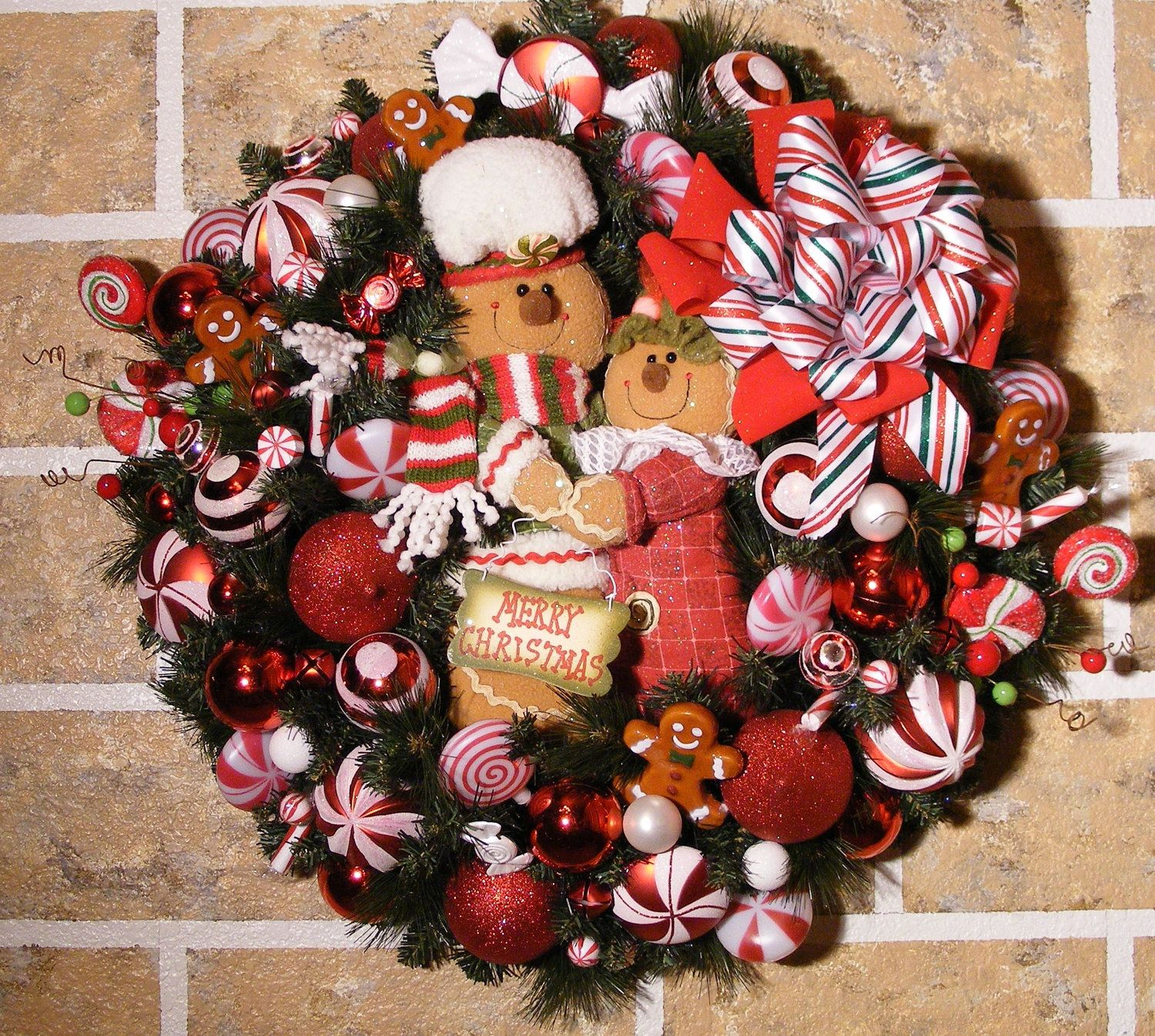 Holiday Frosted Candy Cane Gingerbread Man Decorated Christmas Wreath Christmas Decorations Wreaths Christmas Wreaths Christmas Gingerbread Men