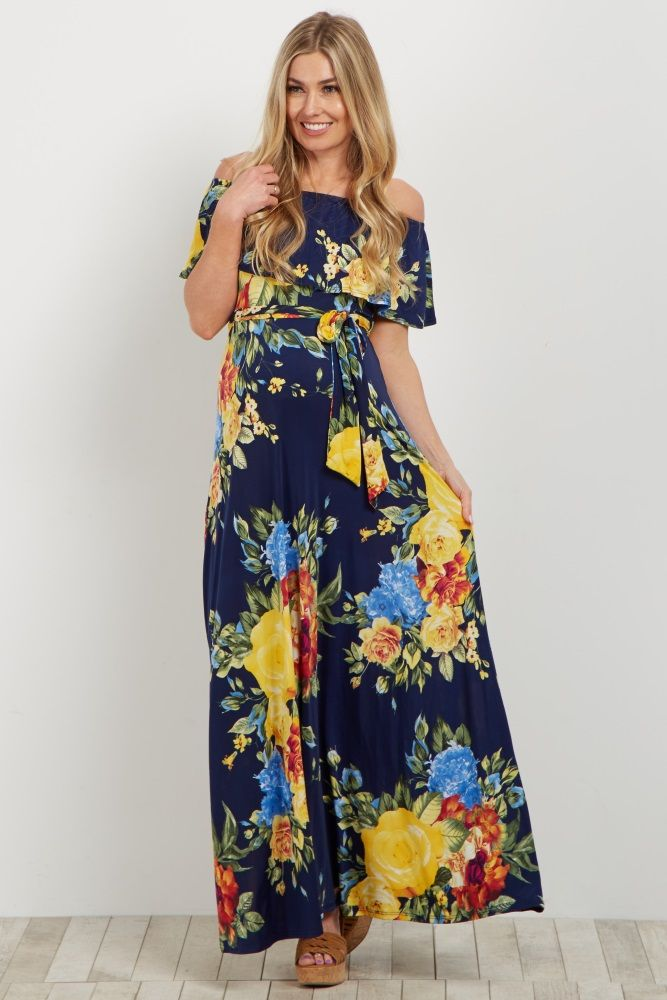 95933a1c20c Navy Yellow Floral Off Shoulder Sash Tie Maternity Maxi Dress in ...