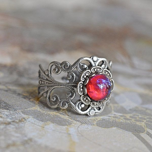 Dragons Breath Ring on Silver plated Filigree ($23) ❤ liked on Polyvore featuring jewelry, rings, vintage rings, vintage jewellery, silver plated jewelry, filigree jewelry and vintage jewelry