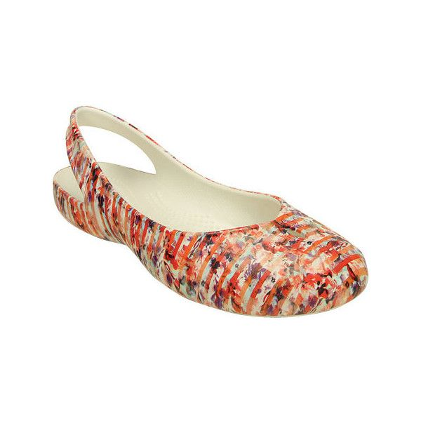 Women's Crocs Olivia II Striped Floral Flat - Multi/Raspberry Casual (255  SEK) ❤ liked on Polyvore featuring shoes, flats, flat slingback shoes,  floral ...