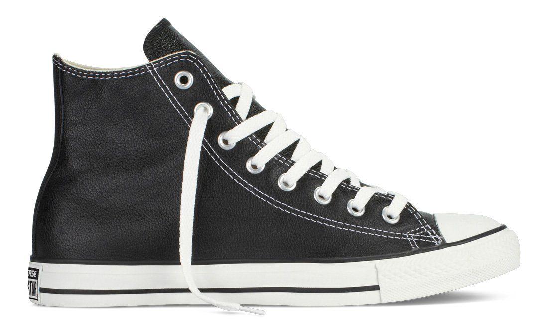 a8974701958b61 Converse Unisex Chuck Taylor All Star Leather Hi Top Black Sneaker - 8 Men  - 10 Women