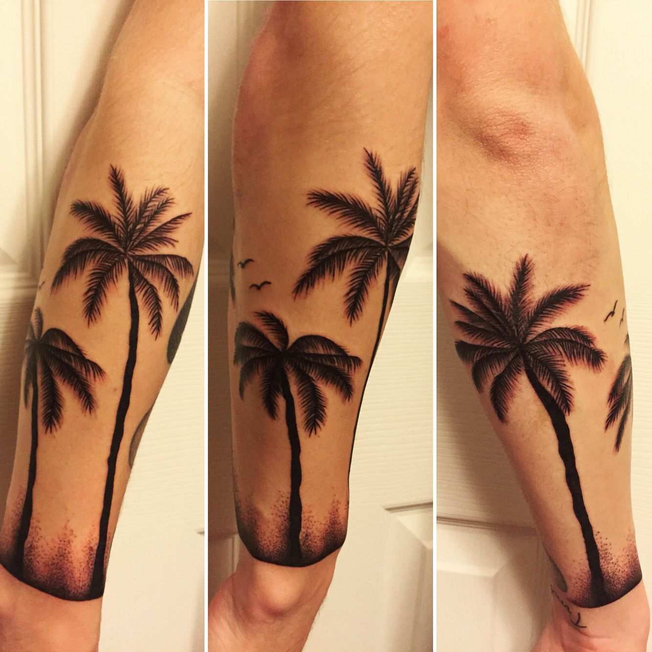 My new tattoo. Palm trees & dot work wrapped around my