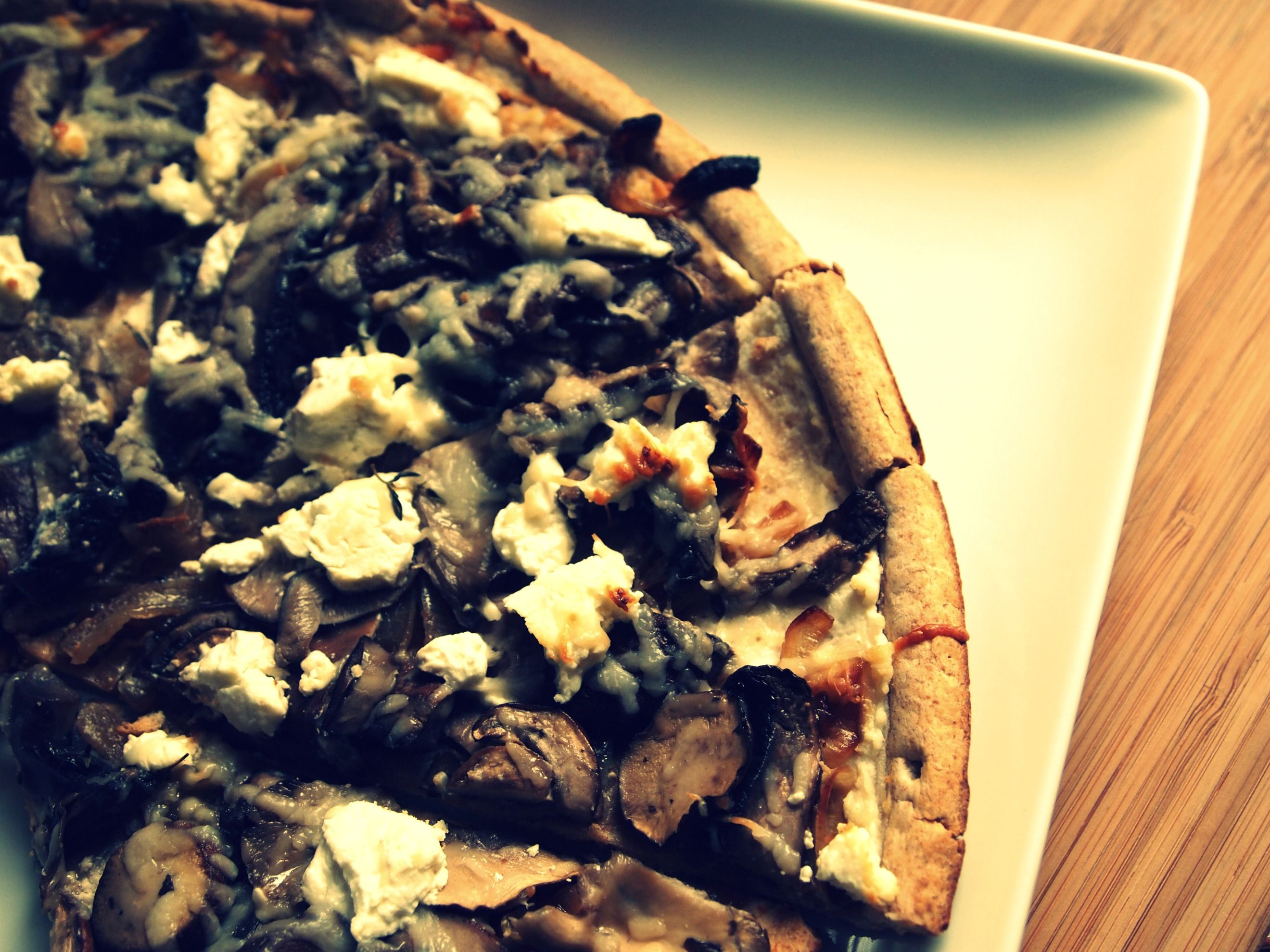 Mushroom, onion, goat cheese on Flatbread