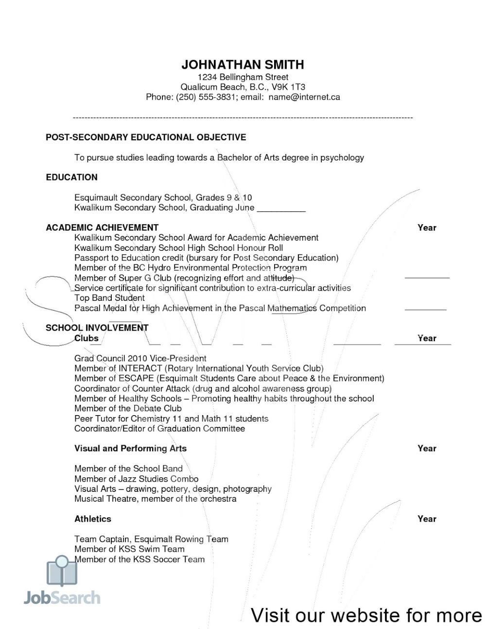 Resume Template For Scholarship - Resume Samples