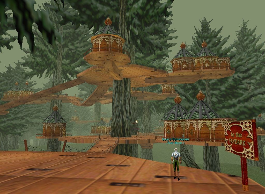 EverQuest, the original  Kelethin, my little wood elf's home