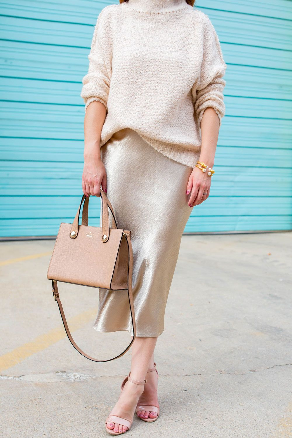 66ff779252b Beige Satin Midi Skirt Styling Ideas with a Sweater