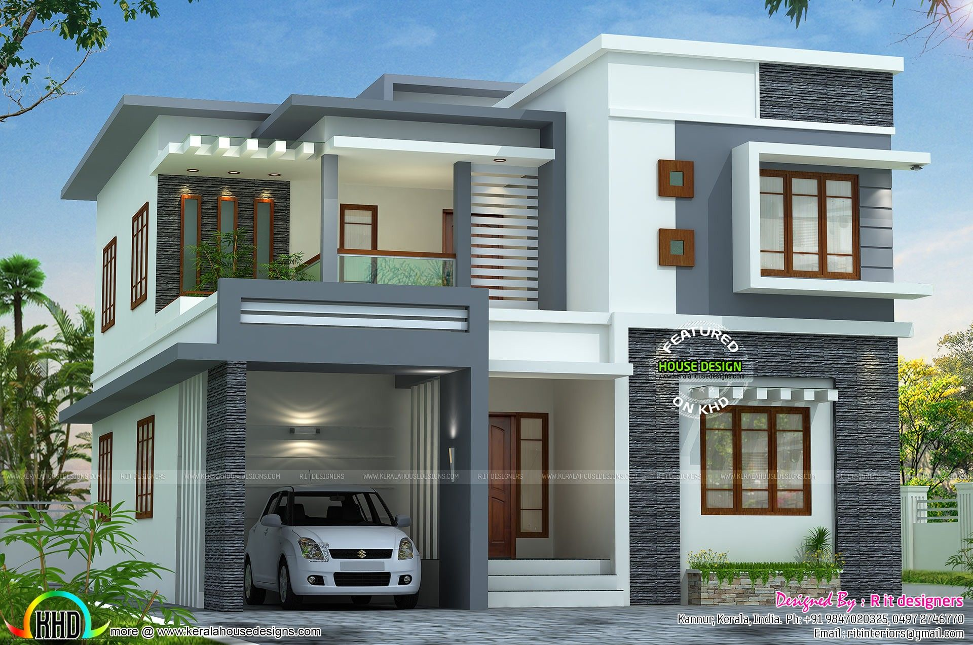 Double Storey House Exterior Design Beautiful Modern Luxury House With Cellar Floor Kerala House Design Two Story House Design 2 Storey House Design