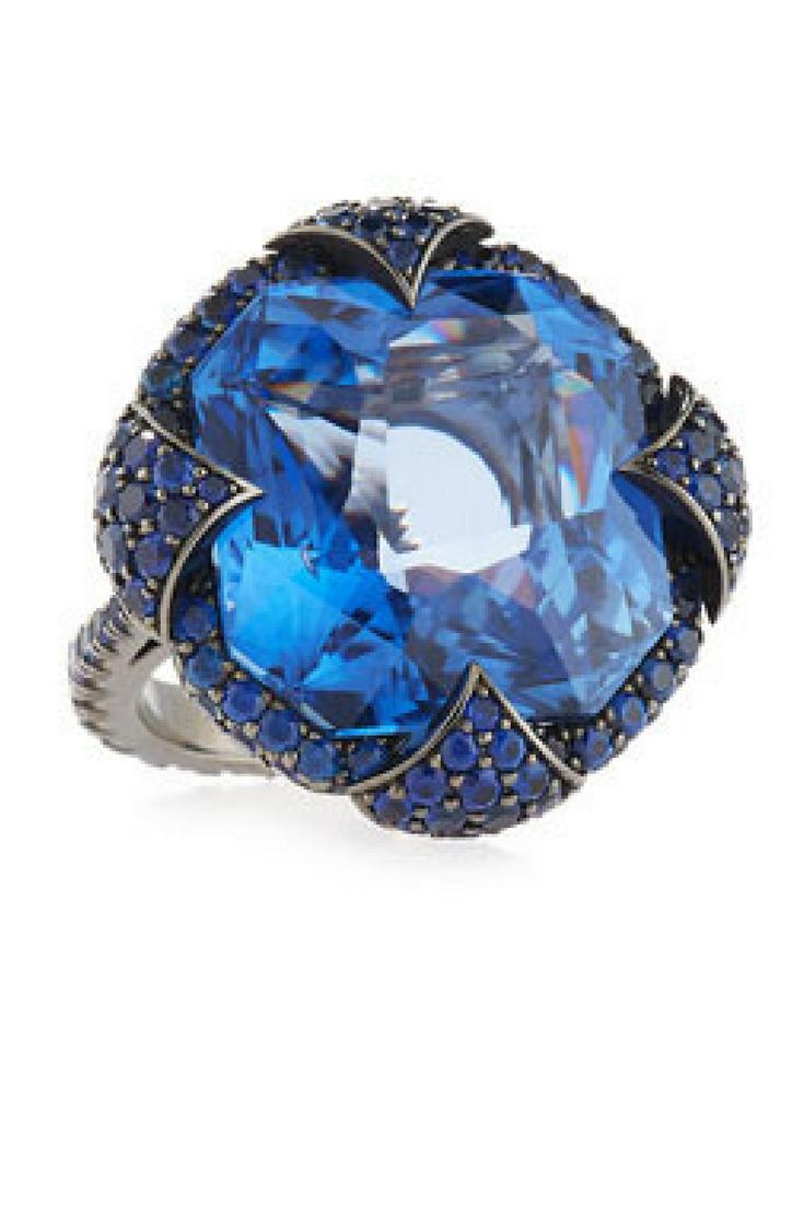 Bayco Sapphire & 18K Blackened Gold Ring
