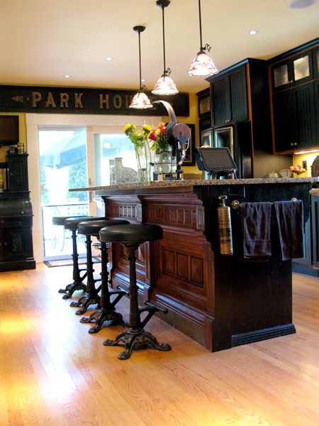 Dark Wood Black Cabinets Kitchen Island Barstools