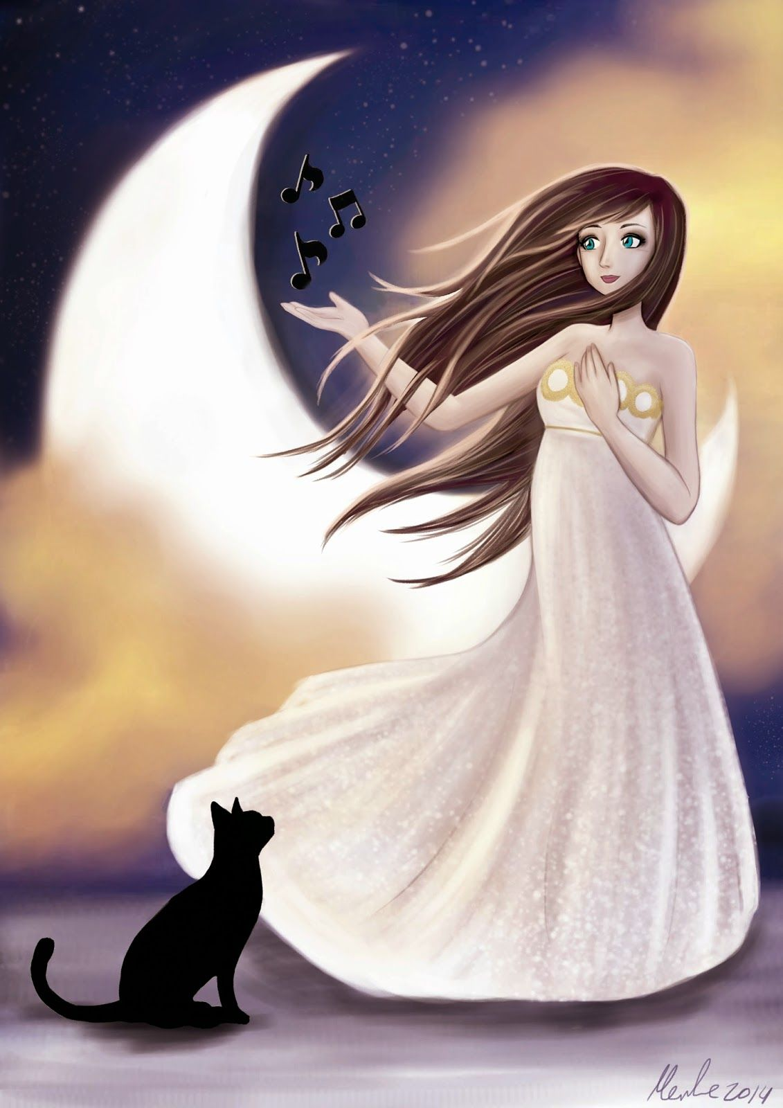 Merche Moreno Ilustración y Diseño: The girl and the moon