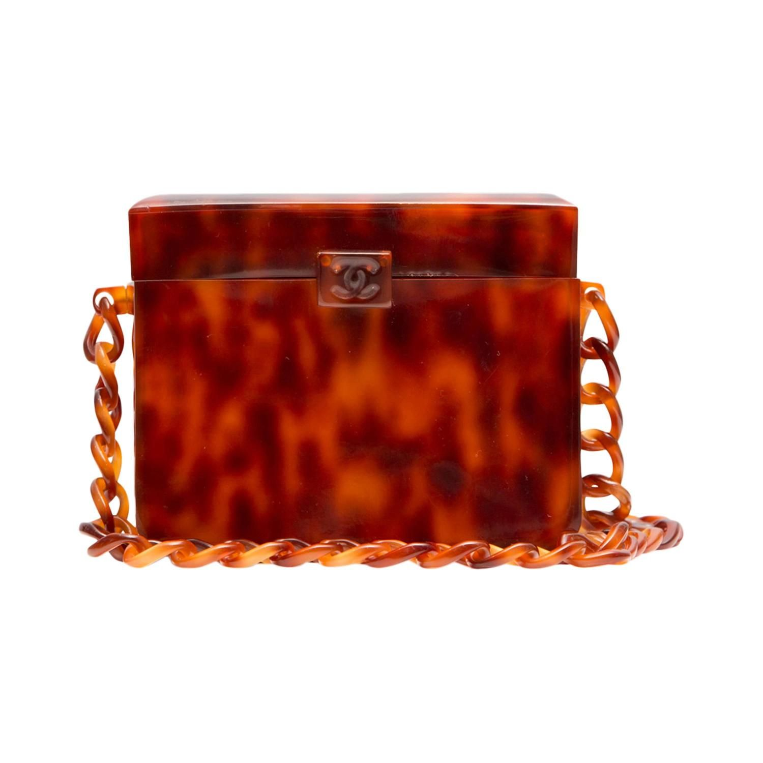Chanel Vintage Tortoiseshell Plexiglass Box Bag | From a collection of rare vintage evening bags and minaudi�res at https://www.1stdibs.com/fashion/handbags-purses-bags/evening-bags-minaudieres/