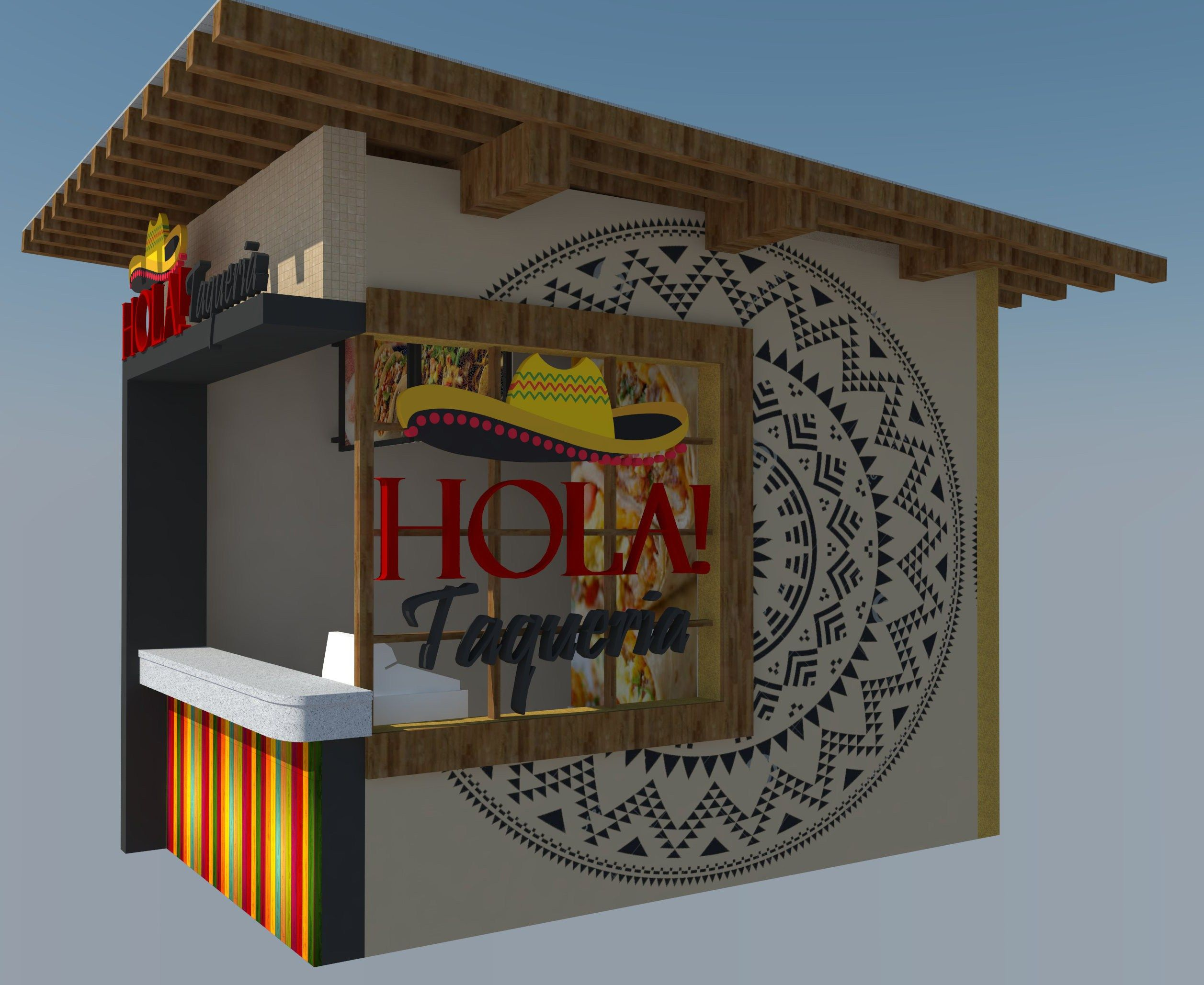 food stall design 3D sketchup downloadable complete concept   2D and ...