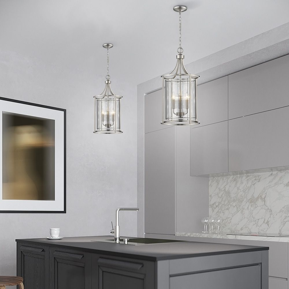 Photo of Eglo Verona 3-light pendant with brushed nickel finish and metal cage shade (silver)