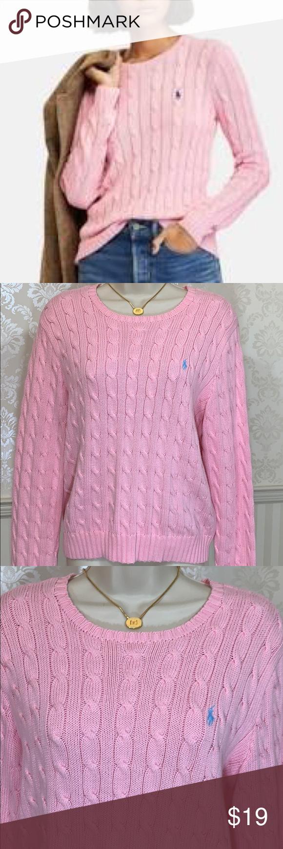 Ralph Lauren Light Pink Cable Knit Cotton Sweater Cotton Sweater Sweaters Knit Cotton