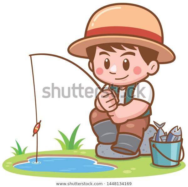 Vector Illustration Cartoon Boy Fishing เวกเตอร สต อก ปลอดค าล ขส ทธ 1448134169 Drawing Classes For Kids Cartoon Boy Drawing For Kids