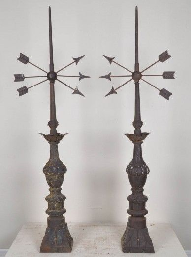 Antiques Pair Antique Early American Architectural Brass Band Ball Finials Asis Furniture Architectural & Garden