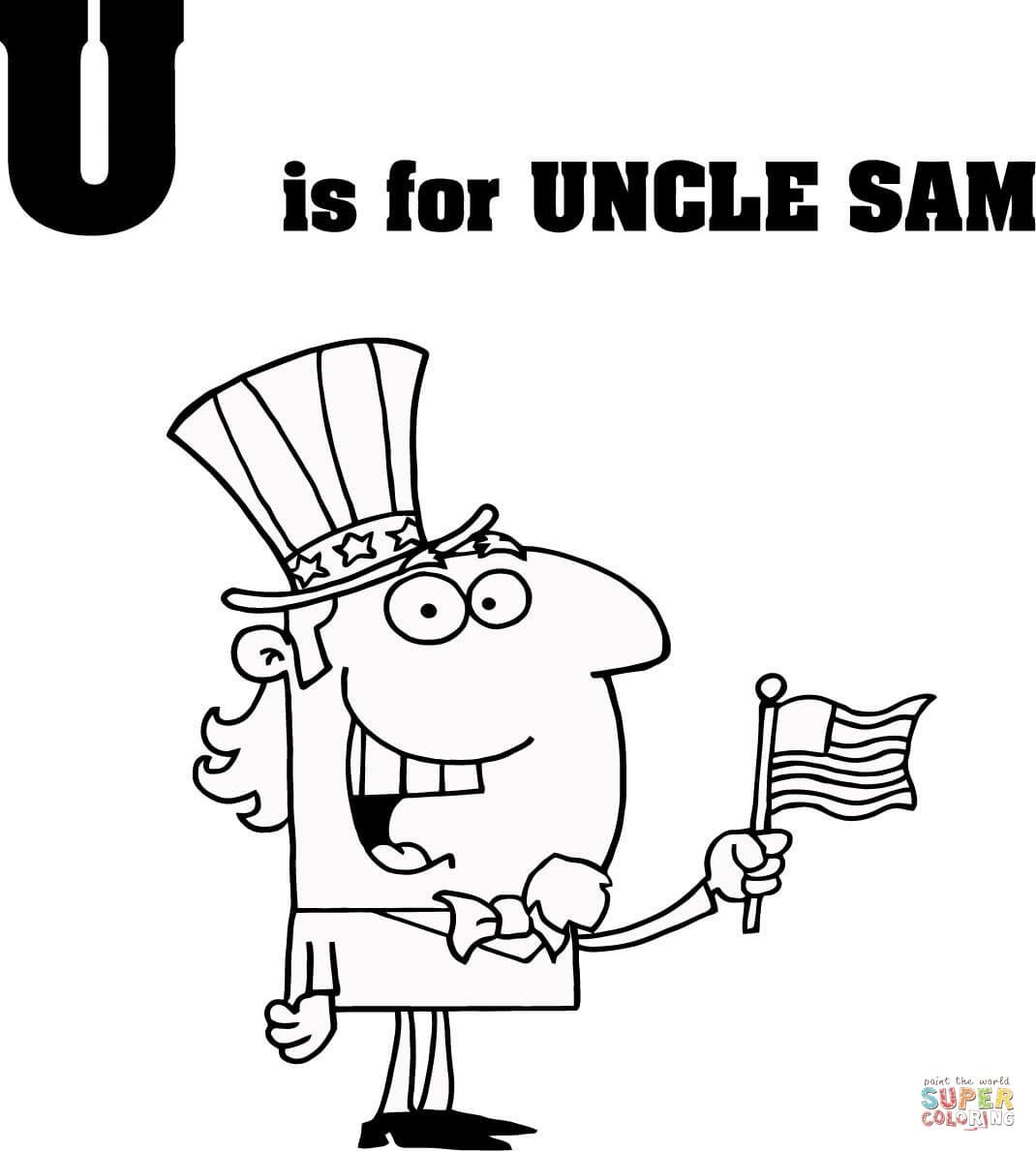 Letter U Is For Uncle Sam Coloring Page From Learn English