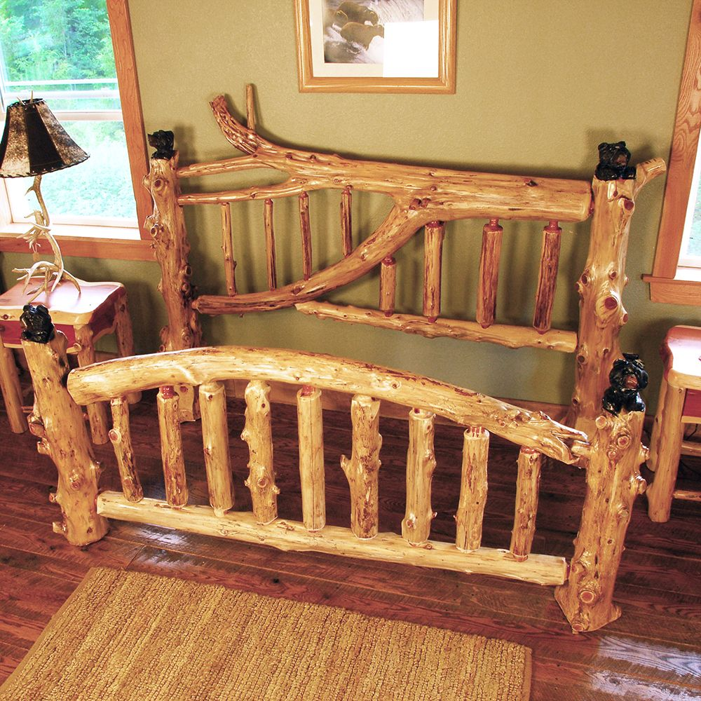 Katmai branched cedar log bed with bear carvings niangua