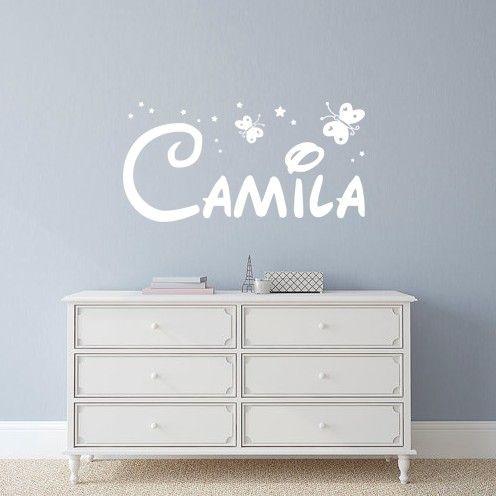 vinilos decorativos con nombre camila con estrellitas y mariposas para decoracin infantil