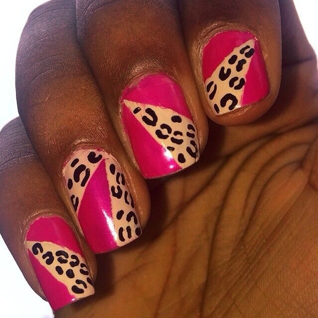 Cheetah Print and pink nail art I did. I used tape and nail stripers ...