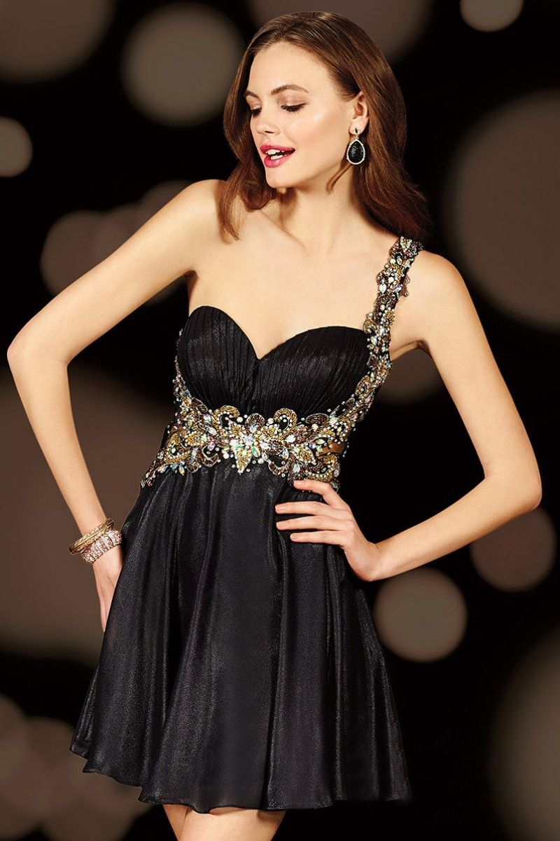 Short black elegant sweetheart backless sequined beading aline
