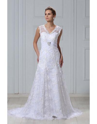 vintage vestido de novia de encaje con escote en v cola corte talla