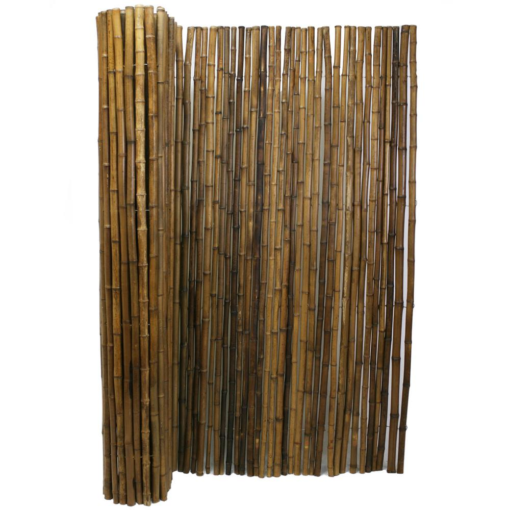 Backyard X Scapes 6 Ft H X 8 Ft W X 1 In D Carbonized Bamboo Fence Panel 22 C6 The Home Depot Bamboo Fence Bamboo Garden Fences Fence Panels