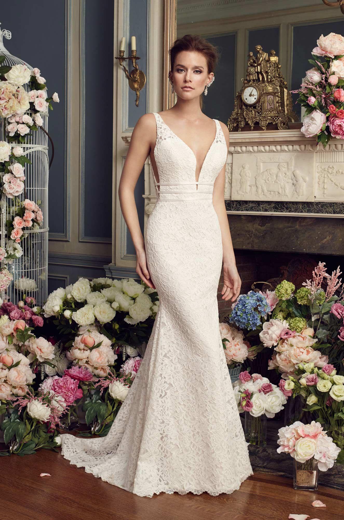 Dramatic lace wedding dress style mikaella bridal lace