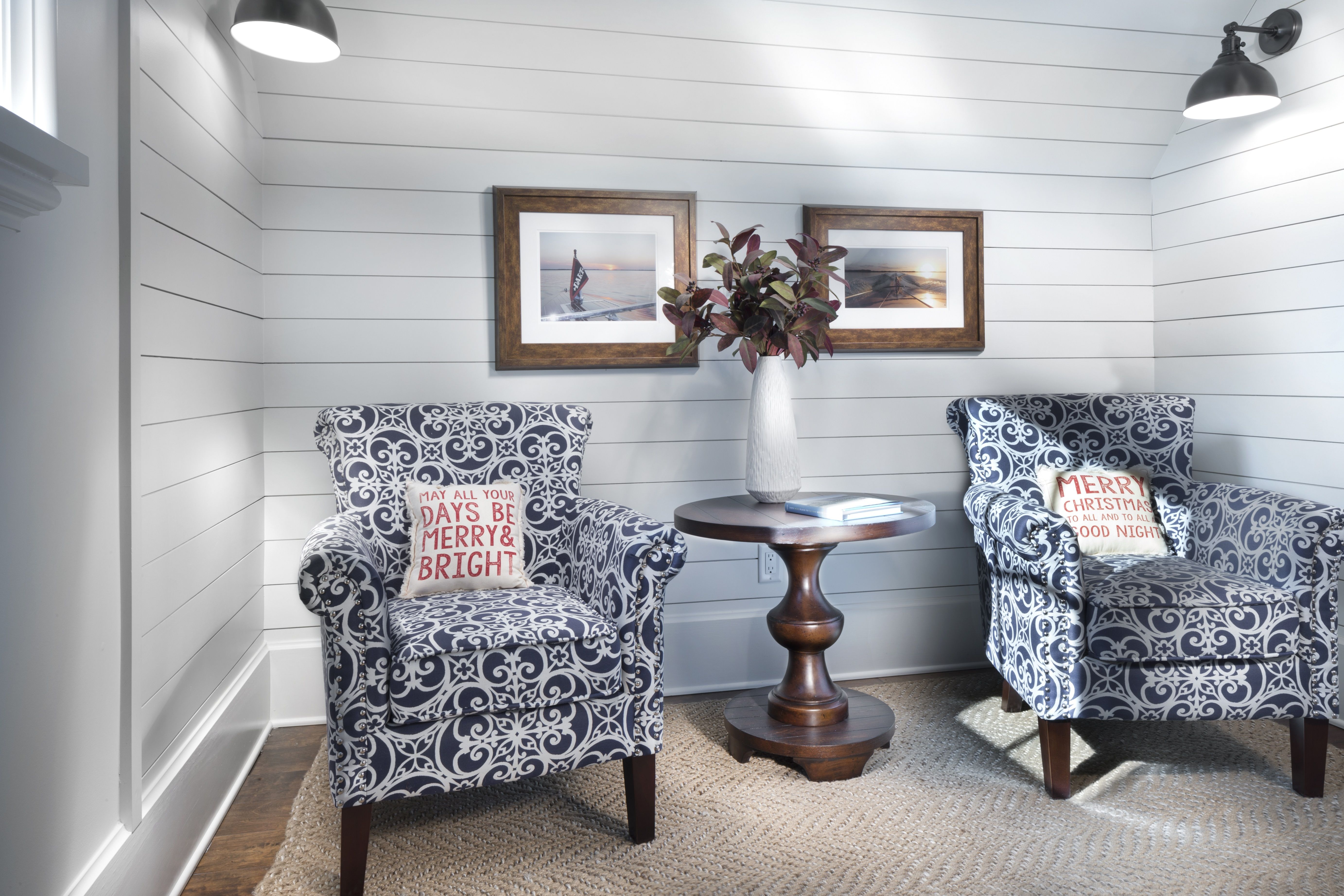 The Magnolia Sitting Room with Shiplap siding