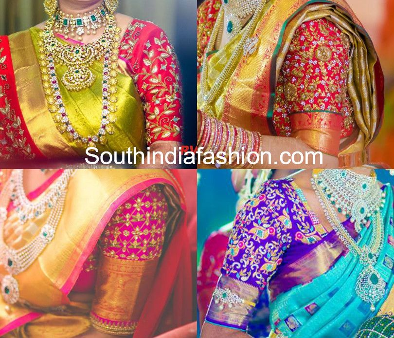 754feecf006bbb Maggam embroidered elbow length sleeves blouse designs for pattu sarees. silk  saree blouse designs 2018