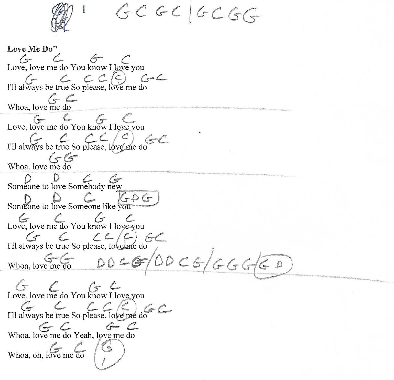 Love Me Do Beatles Guitar Chord Chart With Lyrics Httpwww