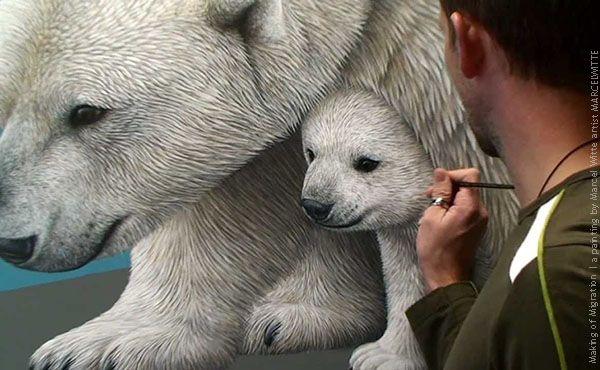 """""""Migration"""" es una asombrosa pintura hiperrealista —de Marcel Witte— en la que se ve a una osa polar con sus cachorros sobre una colchoneta iceberg,  via @tecnoartes"""