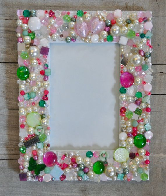 Mosaic Picture Photo Frame With Jewels Beads And Rhinestones
