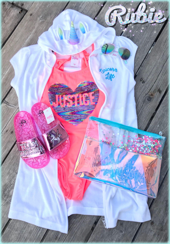 0cc8d88b72 My daughter's Justice Flip Sequin Bathing Suit | Unicorn Life cover up |  Justice Mirror Sunglasses | Glitter Unicorn Slide Sandals | Glitter Bikini  Bag (for ...