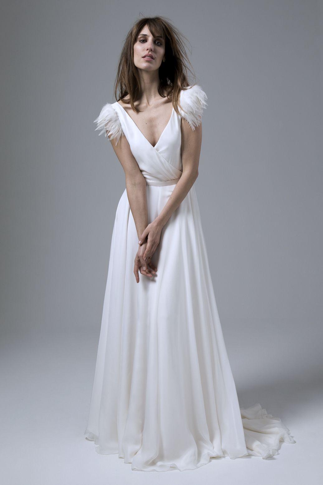 Bridal fashion wrap over floaty chiffon dress plunging v back