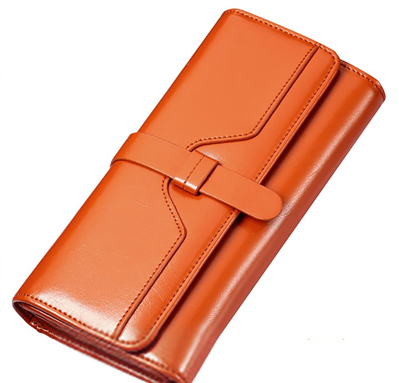 33c4cf3ef32 QZUnique Women's Large Capacity Wax Genuine Leather Wallet with ...