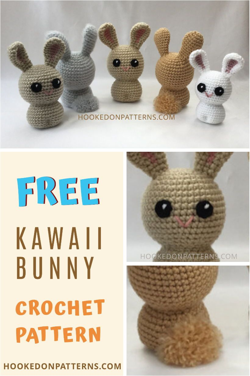 FREE KAWAII BUNNY CROCHET - If you're looking for a cute DIY Crochet project for this Easter, check out my free bunny crochet pattern. A beginner crochet pattern in an amigurumi style. Crochet patterns from Hooked On Patterns #Crochet #Easter #DIYCrafts #CrochetPatterns #FreeCrochetPatterns #eastercrochetpatterns