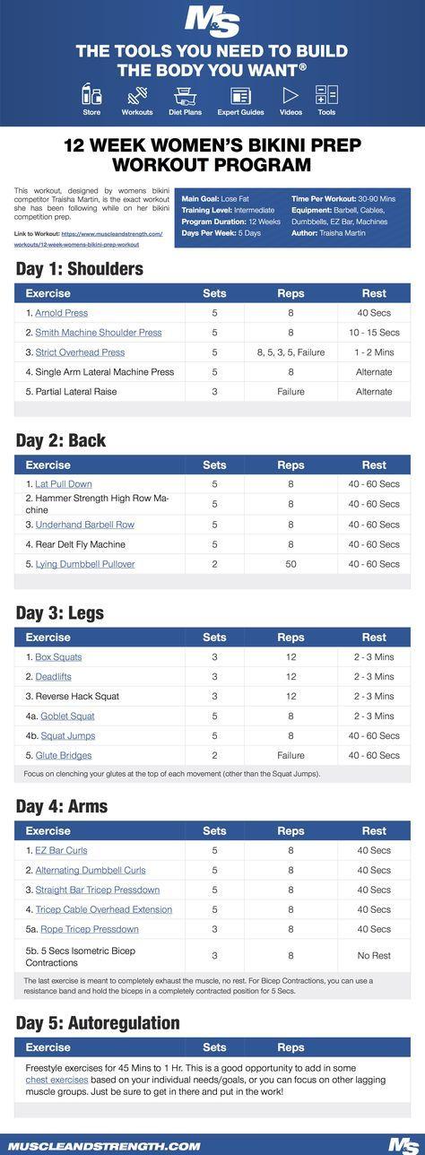 12 Week Women's Bikini Prep Workout Program