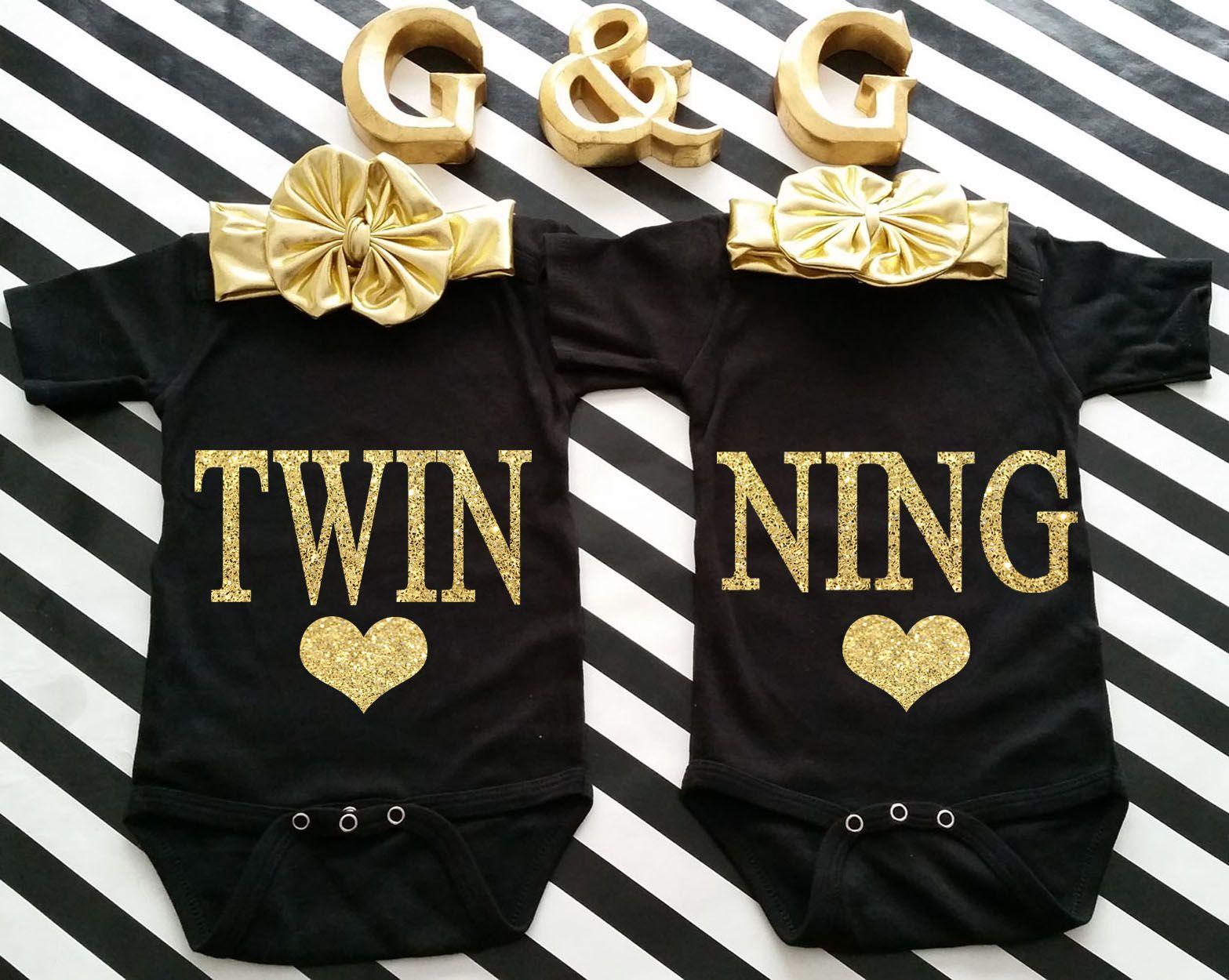 Black t shirt for babies - Black And Gold Glitter Twinning Boy And Girl Matching Shirts